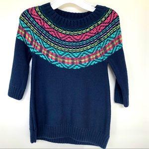 GYMBOREE Navy Fair Isle Sweater Dress 12-18 Months